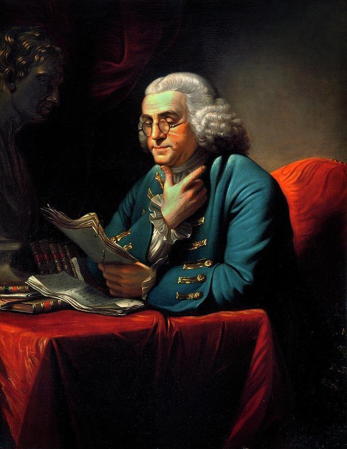 Бенджамин Франклин читает свои записи